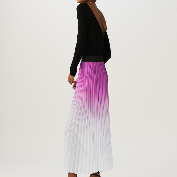Pleated tie-dye skirt : Pre-collection color Purple