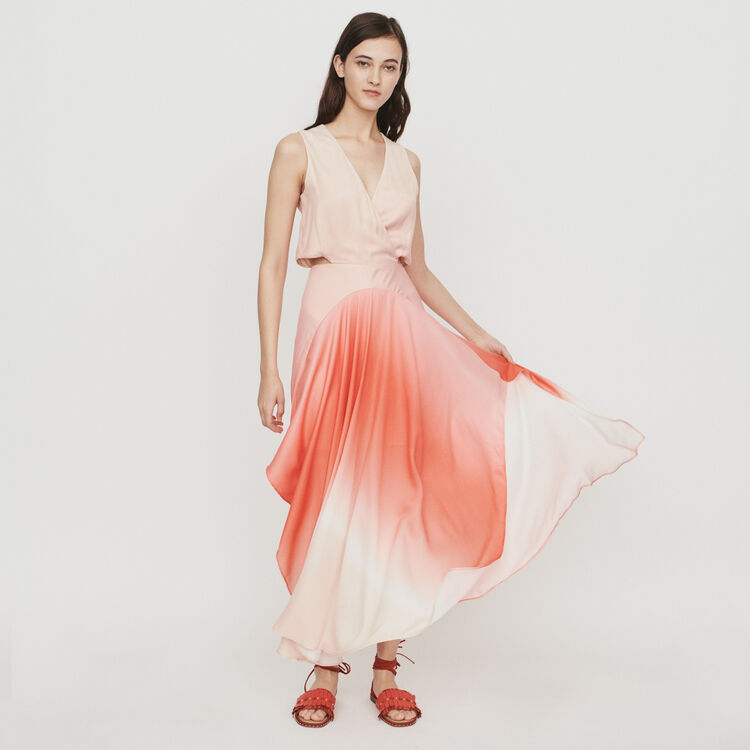 203b6d7fdecbb Dresses true Long tie dye dress in satin : Dresses color Coral