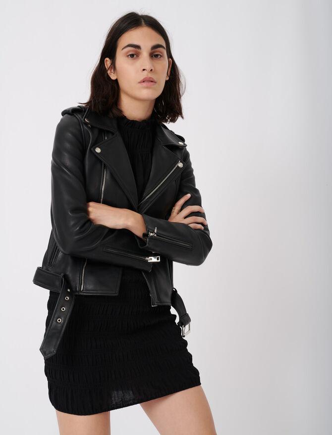 Leather biker jacket and belt -  - MAJE