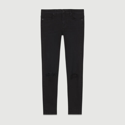 7/8 embroidered skinny jeans : Pants & Jeans color Black 210