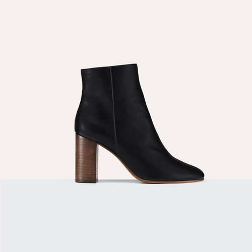 Leather ankle boots : Shoes & Accessories color Black 210