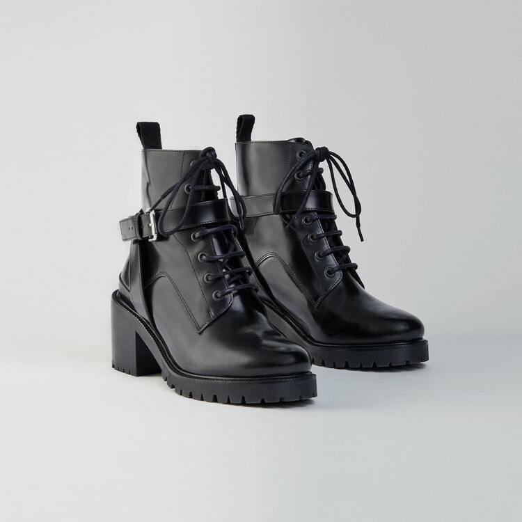 Heeled lace-up glazed leather booties : Shoes color Black