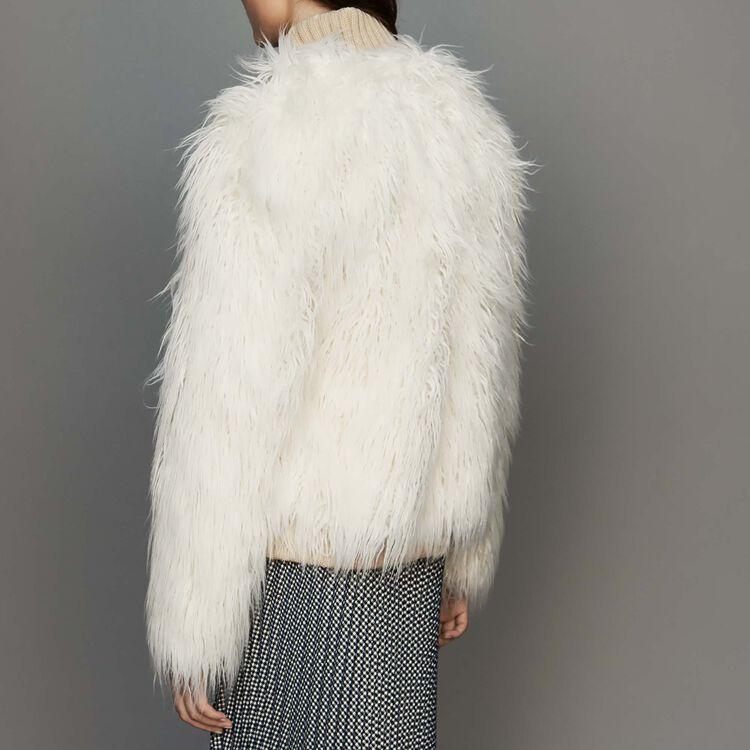 Cropped faux fur coat : Coats & Jackets color Ecru