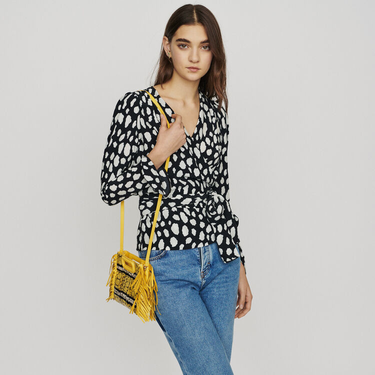 Printed wrap V-neck top : Tops & T-Shirts color Printed