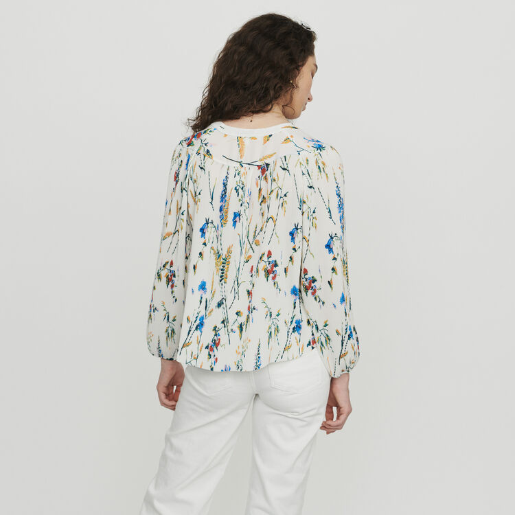 Pleated printed jewel top : Tops & T-Shirts color PRINTED