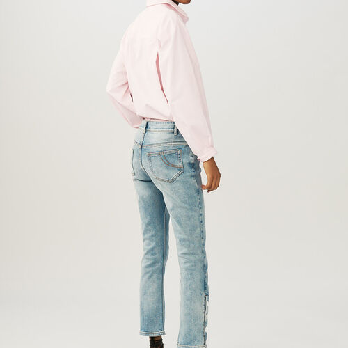 Flared 7/8 denim jeans : Pants & Jeans color Denim
