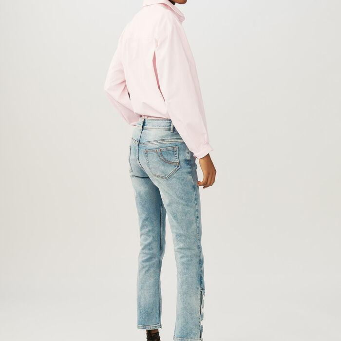 Flared 7/8 denim jeans : Pants & Jeans color Denim