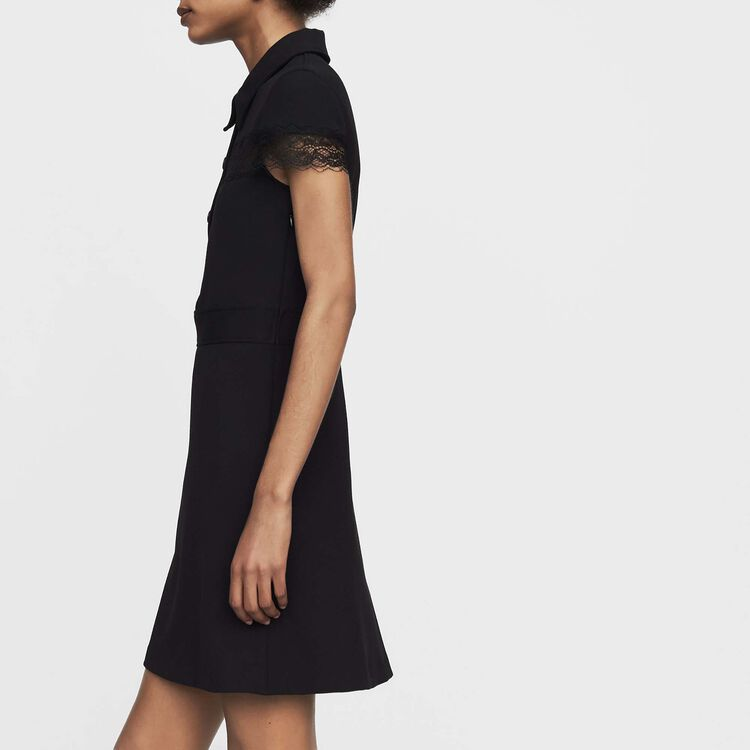 Crepe shirt dress : Dresses color Black 210