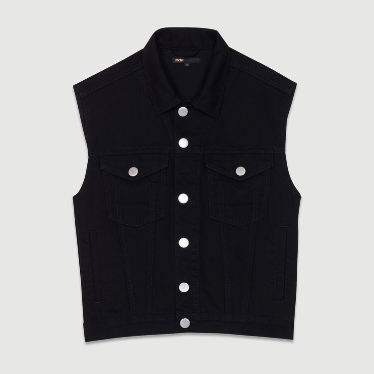 Denim vest : Coats & Jackets color Black 210