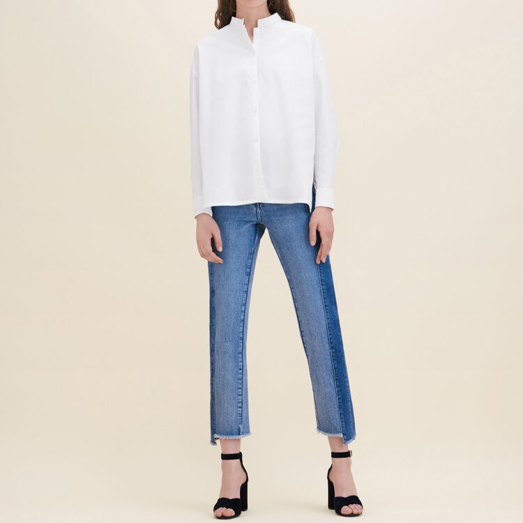 Asymmetric poplin shirt : Tops & T-Shirts color White