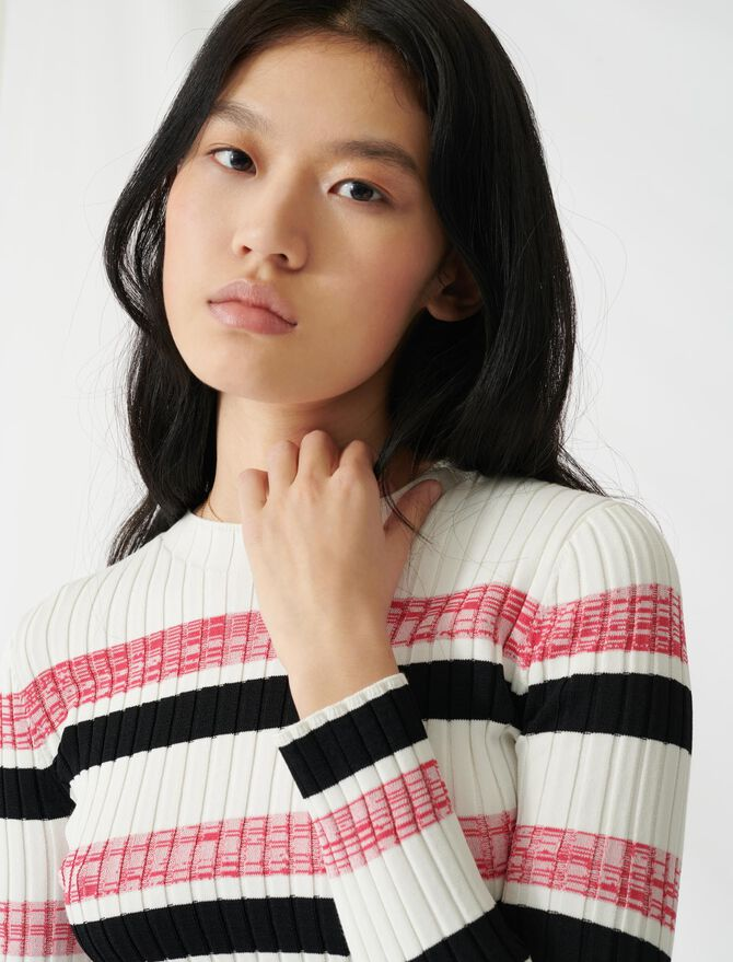 Striped ribbed knit jumper - Sweaters - MAJE