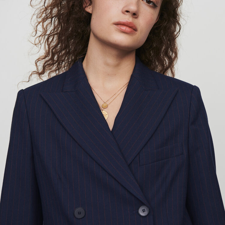Racing-striped double breasted jacket : Coats & Jackets color Navy