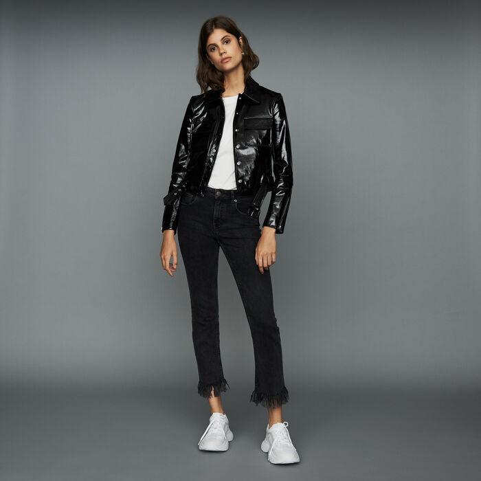 Wide-leg jeans with fringe : The Spring Essentials color Black 210