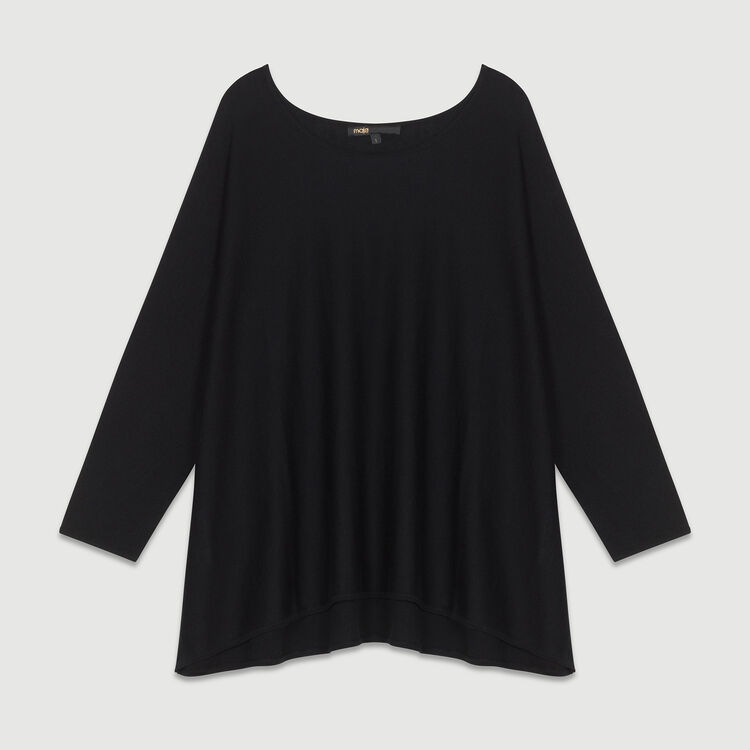 Oversized silk and cashmere sweater : Sweaters color Black 210