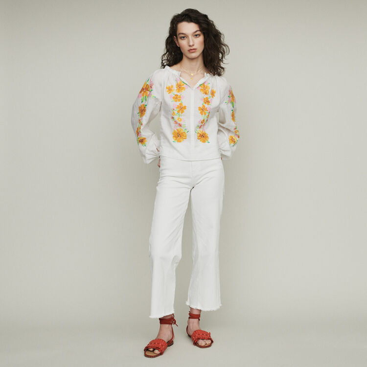 Linen embroidered blouse : Tops & T-Shirts color White