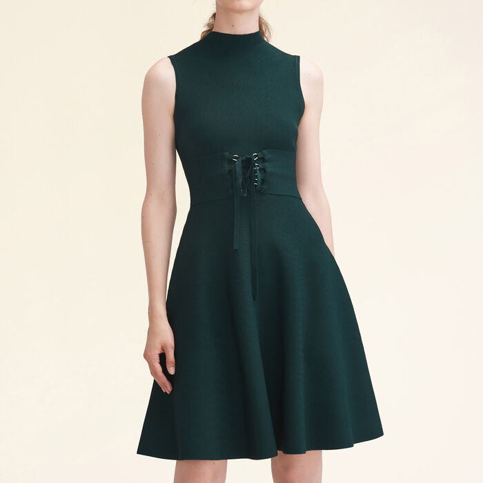 Stretch-knit sleeveless dress with belt : null color