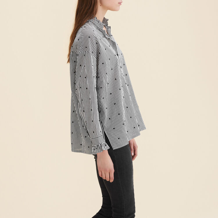 Blouse with stripes and mixed polka-dots : Tops & Shirts color PRINTED