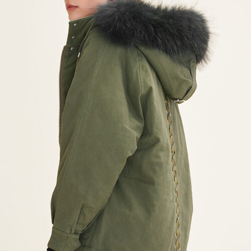 Parka with fur hood : Coats & Jackets color Khaki