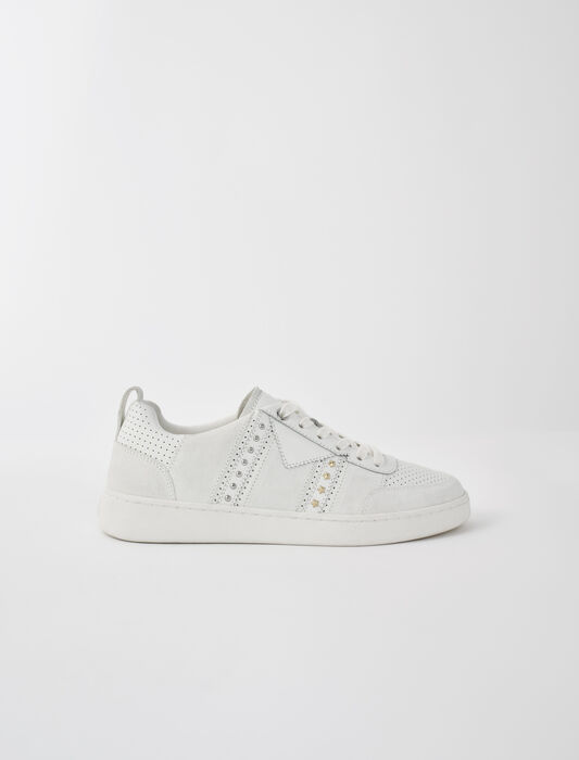 Studded white leather sneakers : New Collection color White