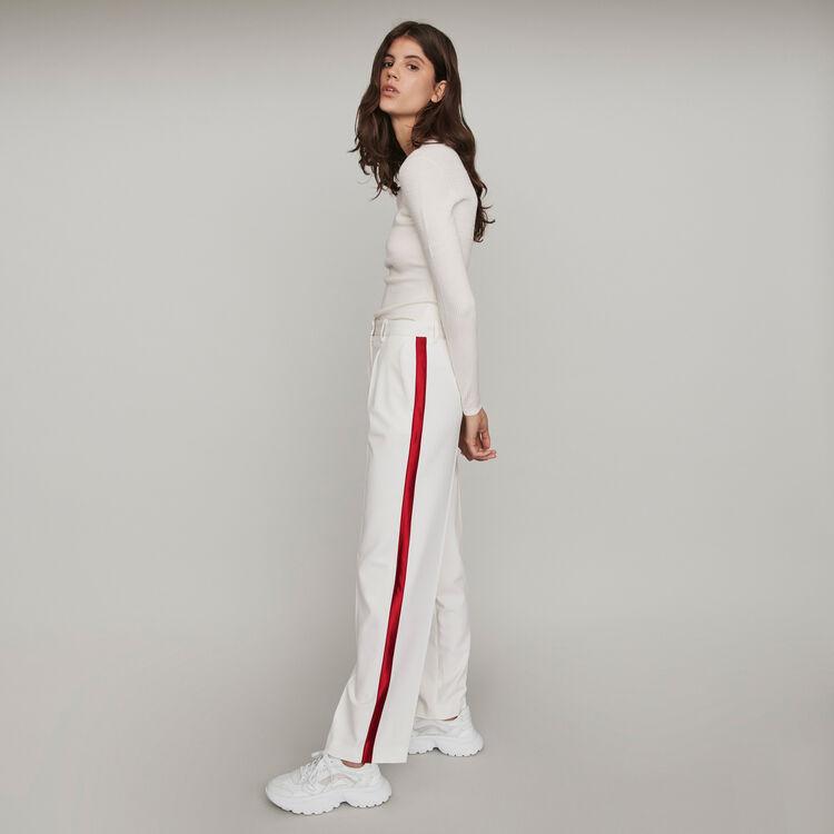 Wide-leg pants with contrasting stripes : Pants & Jeans color Ecru