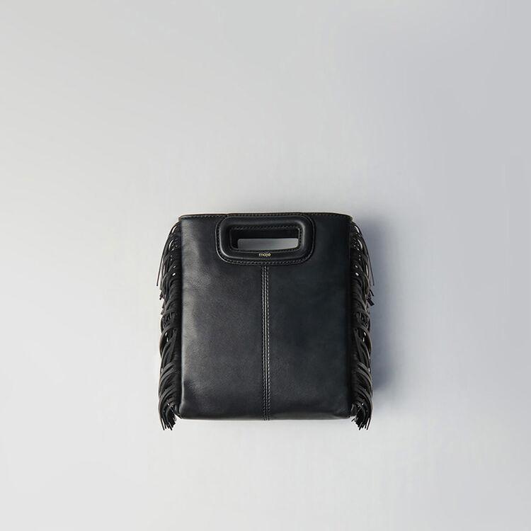 Large fringed leather bag : The Essentials color Black