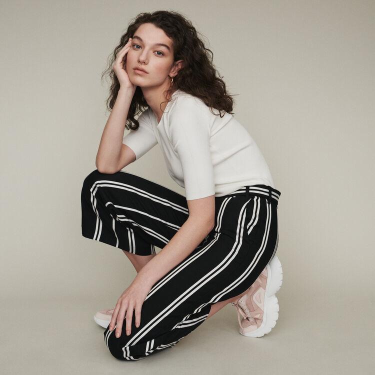 Wide 7/8 striped pants : Pants & Jeans color Stripe