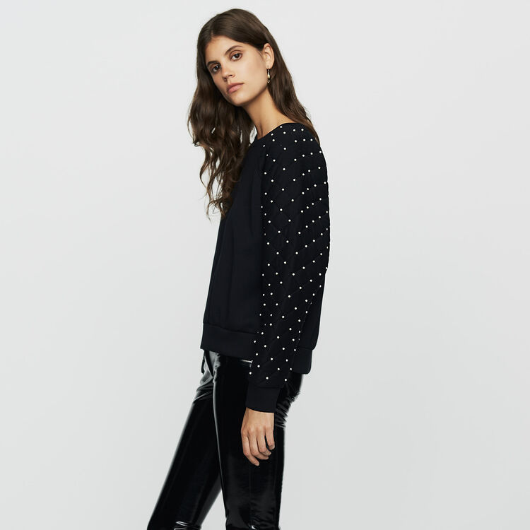 Sweatshirt with pearls and quilting : Sweaters color Black 210