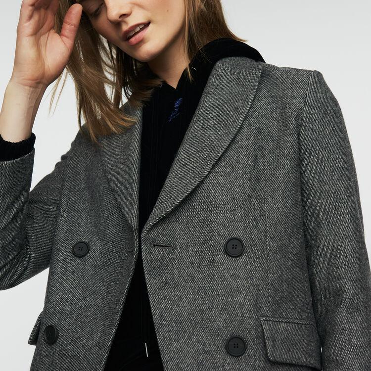 Blazer in wool blend : Coats & Jackets color Grey