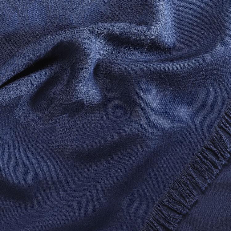 Cotton blend  shawl : Scarves color Navy