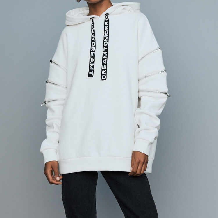 Hooded sweatshirt with zips : Sweaters color White
