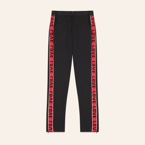 Satin trousers with bands : The Spring Essentials color Black 210