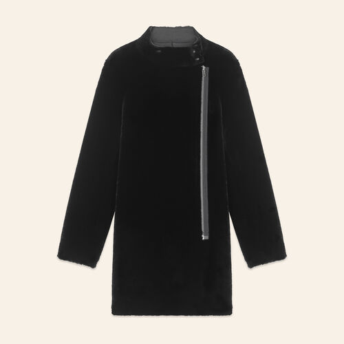 Sheepskin coat : Coats & Jackets color Black 210