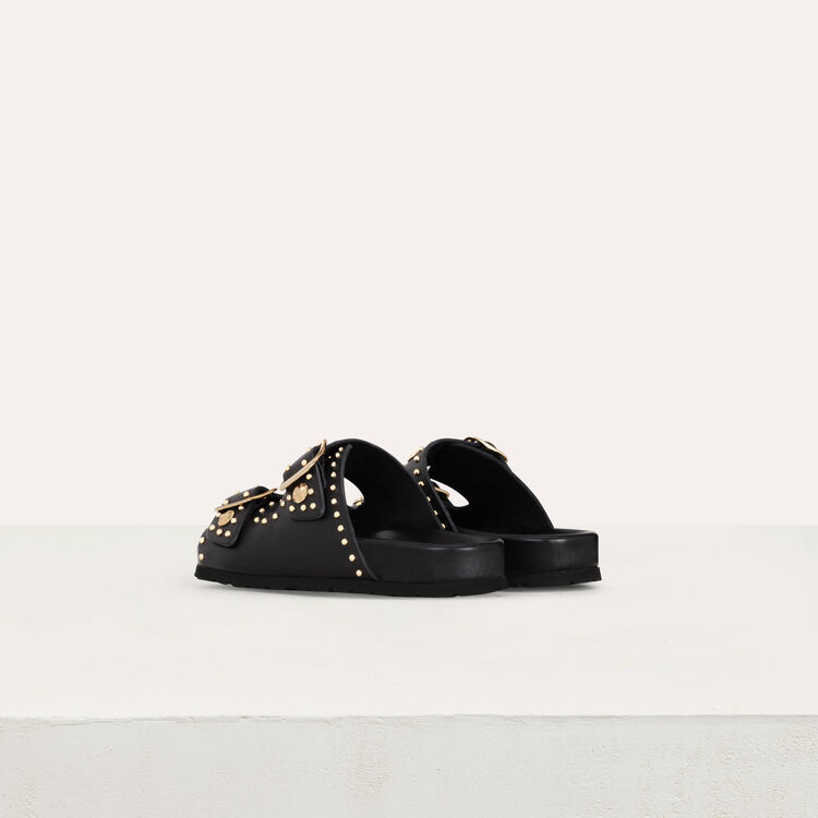Leather sandals decorated with studs : Shoes color Black