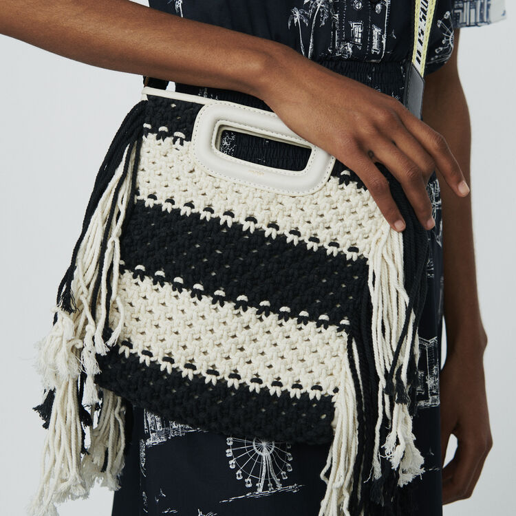 M bag in leather and bicolor knit : M Bags color Black 210