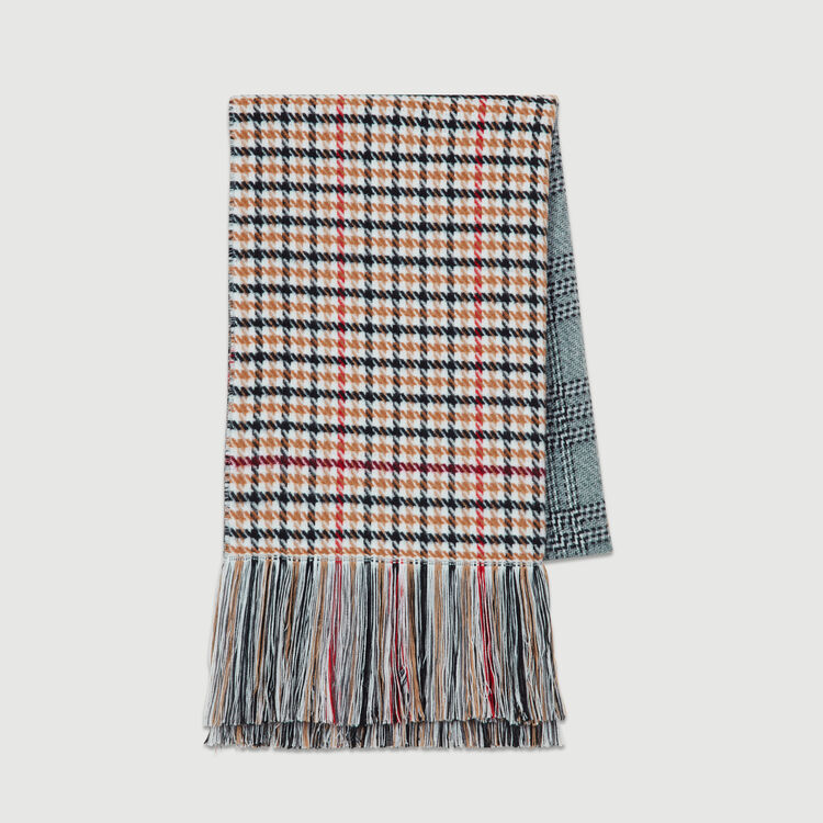 Knit scarf in plaid mix : Scarves & Ponchos color Multico