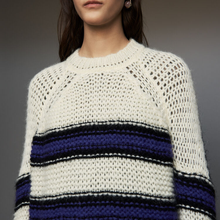 Oversize sweater in tricolor knit : Fresh Air color Purple