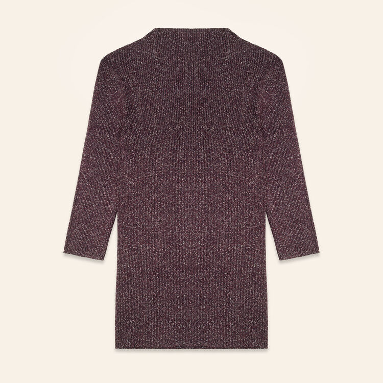 Lurex knit fitted jumper : Sweaters color BORDEAUX