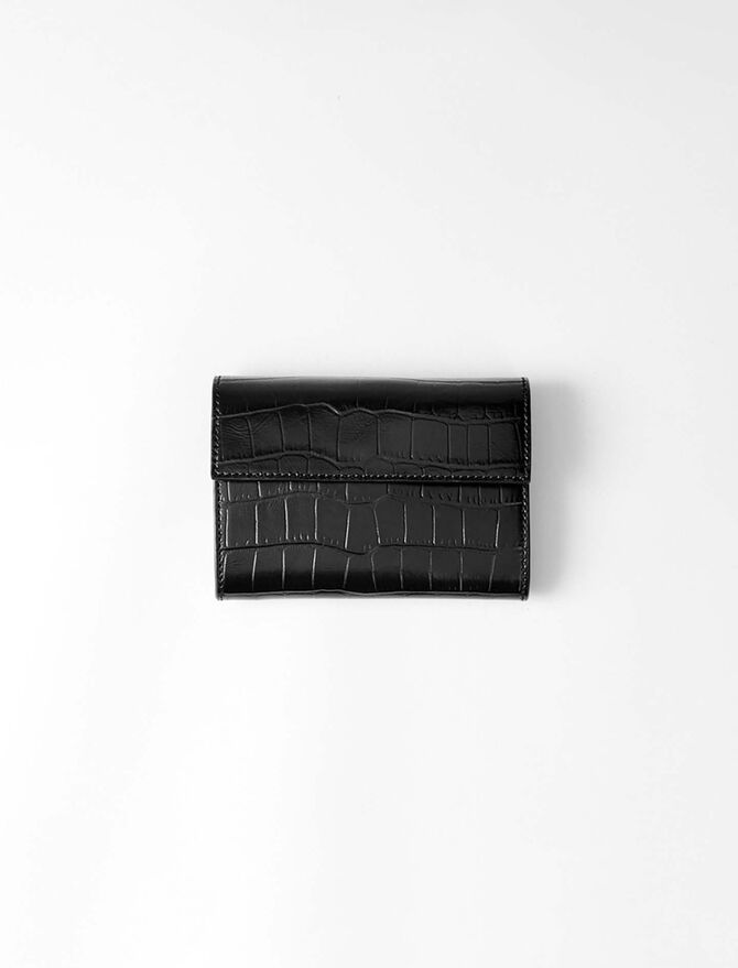 Crocodile embossed-leather wallet - Small Leather Goods - MAJE