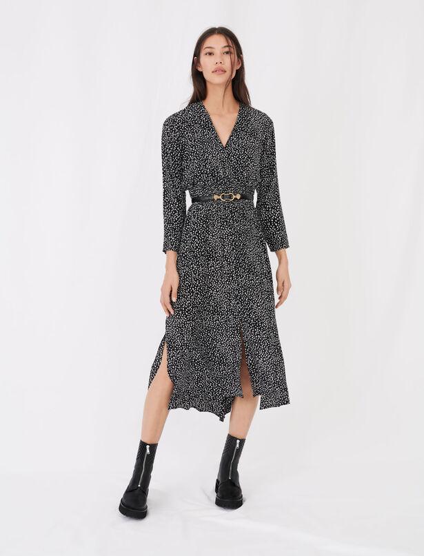 마쥬 MAJE Long crepe printed dress,Black / White