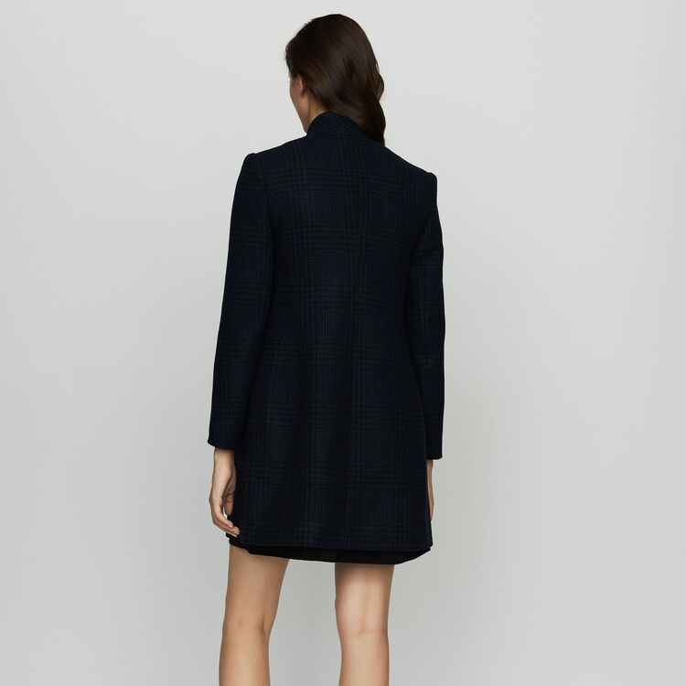 Straight houndstooth coat : Coats & Jackets color Navy