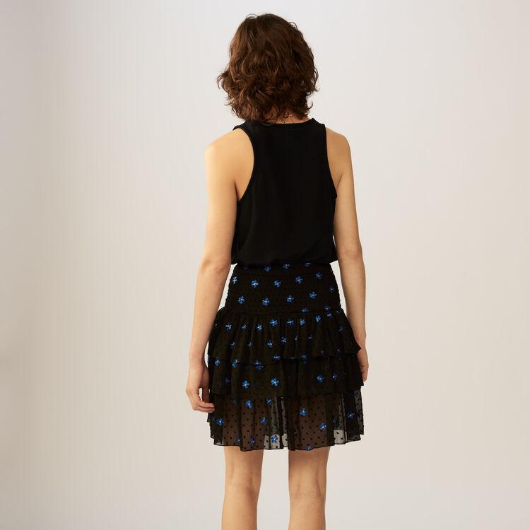 Embroidered Swiss-dot flounce skirt : Skirts & Shorts color Black 210