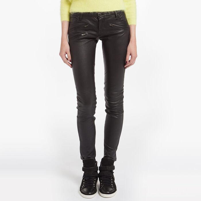 Slim-fit leather jeans : Copy of Sale color