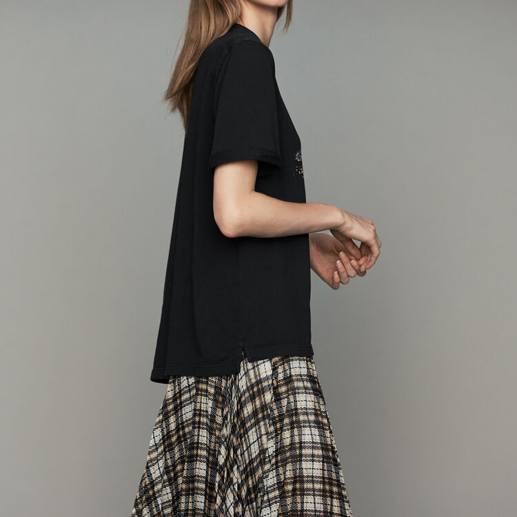 Oversize printed cotton T-shirt : Tops & T-Shirts color Black 210