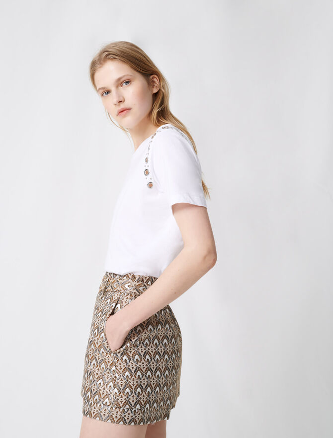 Jacquard skort with removeable belt - Skirts & Shorts - MAJE