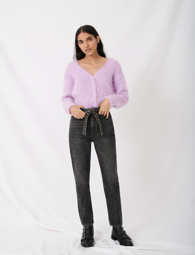 Mom jeans with rhinestone belt - Pants & Jeans - MAJE