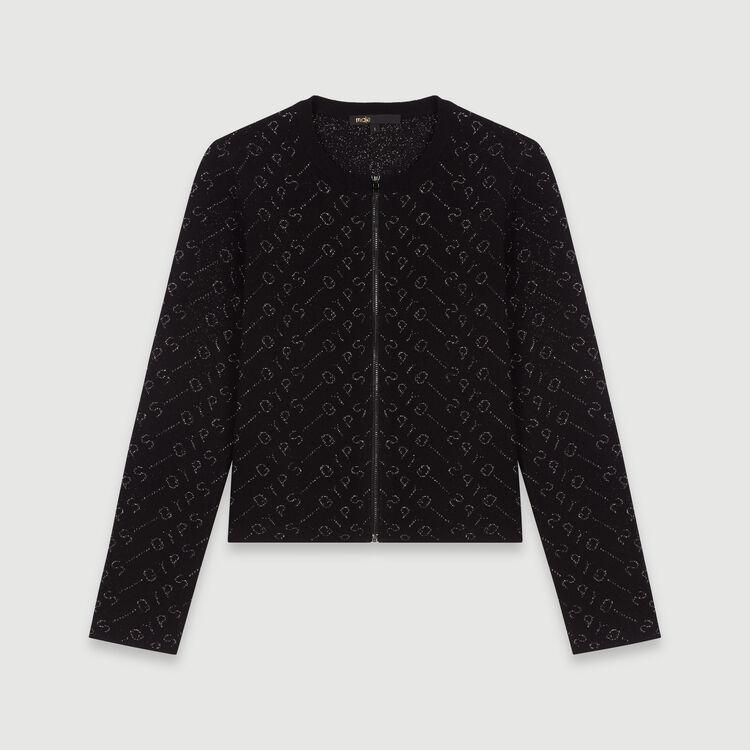 Lurex jacquard cardigan : Sweaters color Black