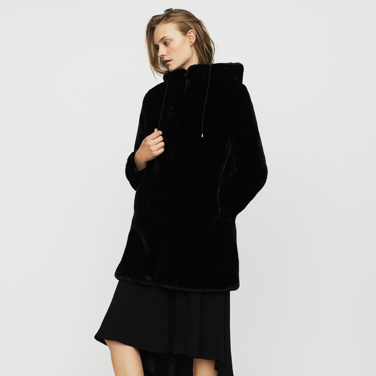 Hooded faux fur jacket : Coats & Jackets color Black 210
