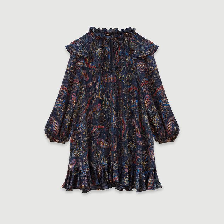 Jacquard-printed babydoll dress : Dresses color Navy