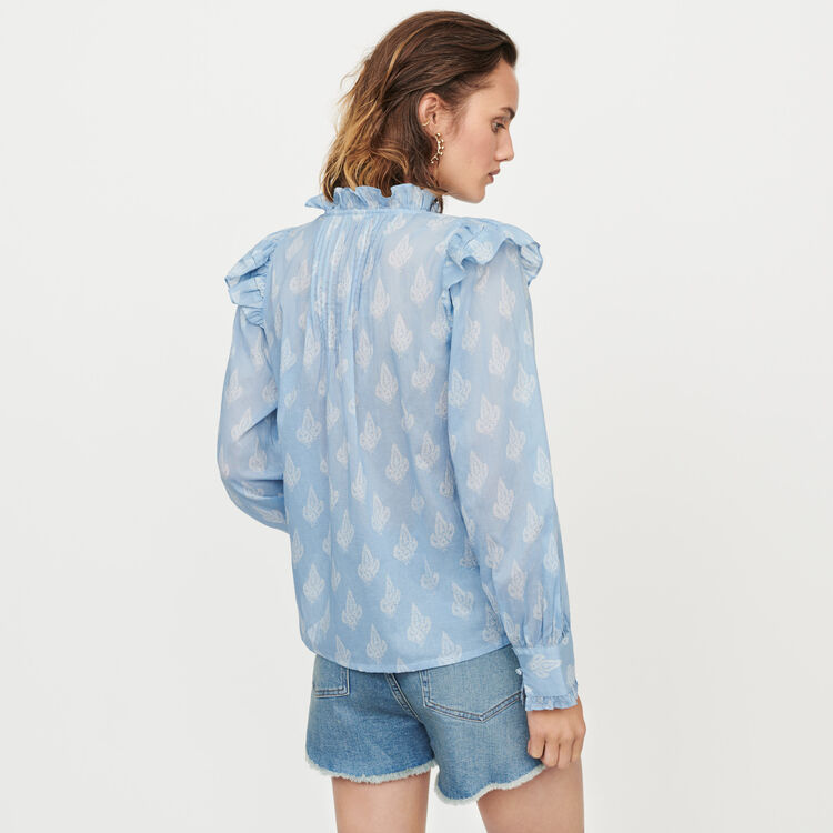 Printed-cotton voile ruffled top : Tops & T-Shirts color Blue