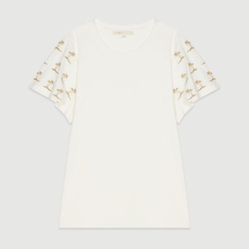 Braided sleeve T-shirt : Tops & T-Shirts color WHITE